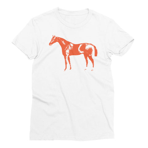 Women's White T-Shirt - Letterpress Horse - Flame