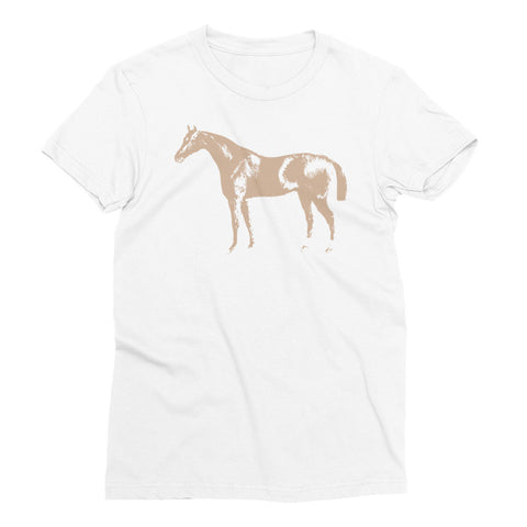 Women's White T-Shirt - Letterpress Horse - Hazelnut
