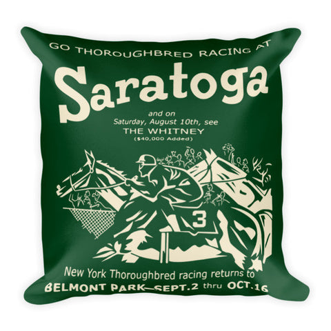 Saratoga Racing Pillow - Hunter Green/Creme Reversible