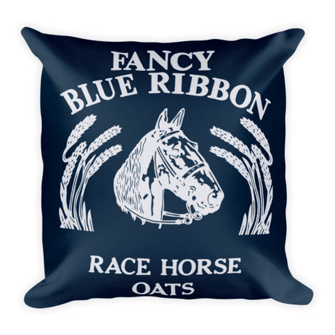 Rebecca Ray Designs - Blue Ribbon Horse Pillow - Navy/Light Gray Reversible - POD Pillows - Made in America
