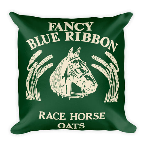 Rebecca Ray Designs - Blue Ribbon Horse Pillow - Hunter Green/Creme Reversible - POD Pillows - Made in America