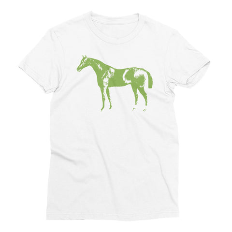 Women's White T-Shirt - Letterpress Horse - Greenery