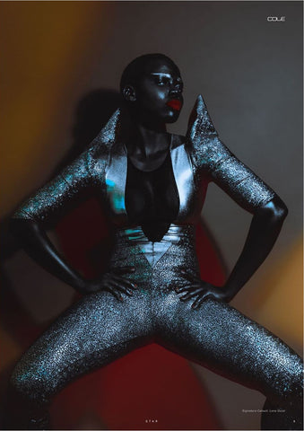 Grace Jones 80's glam rock fashion editorial Cole Magazine black model issue