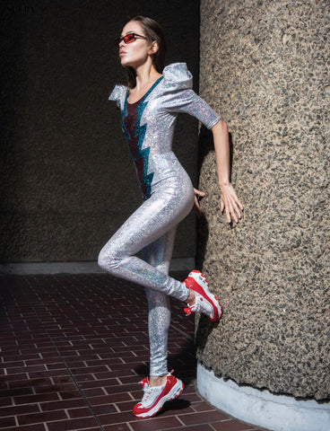 white holographic catsuit