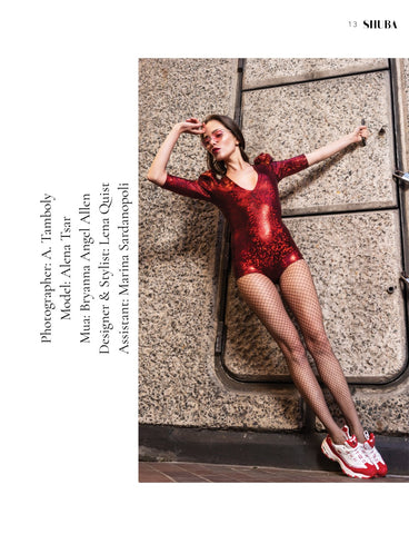 red glitter bodysuit at barbican centre london