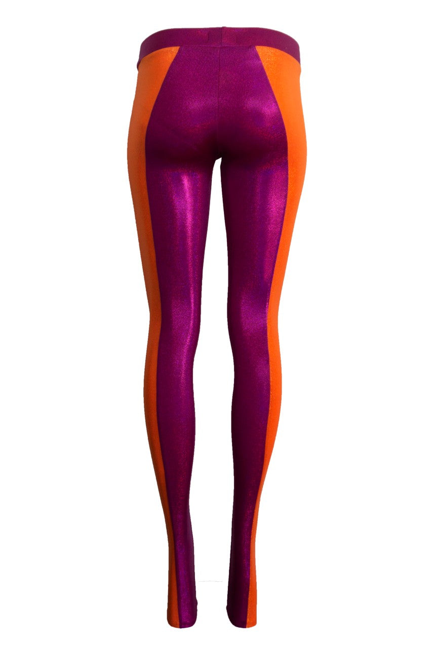 Bicolour Leggings, Hot Pink/Orange
