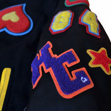 Load image into Gallery viewer, Heart Patch Varsity Jacket (Blk)