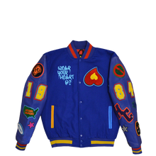 Load image into Gallery viewer, Heart Patch Varsity Jacket (Royal Blue)
