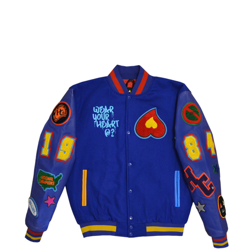 Heart Patch Varsity Jacket (Royal Blue)