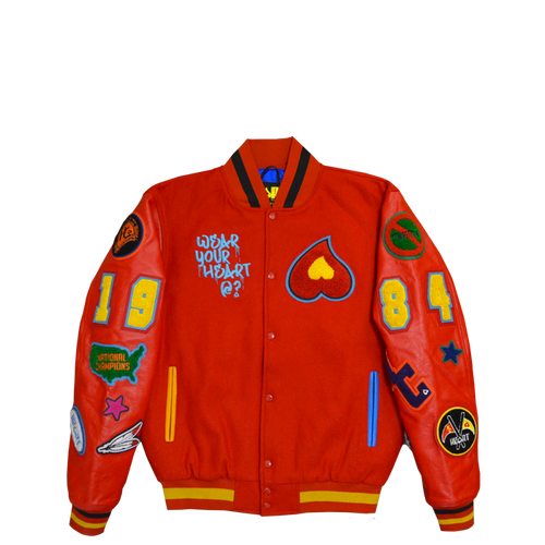Heart Patch Varsity Jacket (Cherry Red)