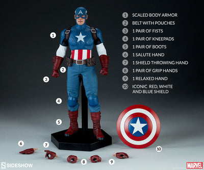 Captain America 12 Inch Action Figure 1/6 Scale Series - Captain America Sideshow 100171