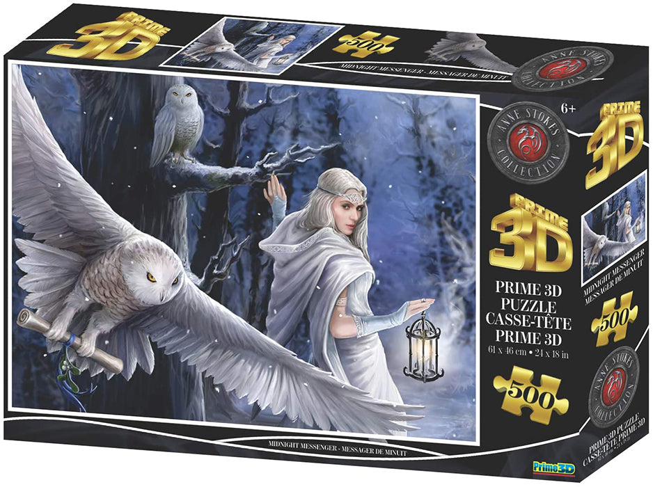 Jigsaw 3D Puzzle Anne Stokes 24 Inch by 18 Inch Puzzle 500 Piece - Midnight Messenger
