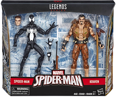Marvel Legends Spider-Man 6 Inch Action Figure Exclusive 2-Pack Series - Symbiote Spider-Man vs Kraven