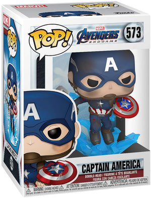 Pop Marvel 3.75 Inch Action Figure Avengers Endgame - Captain America with Broken Shield and Mjolnir #573