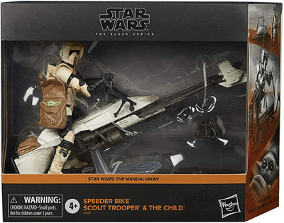 Star Wars The Black Series 6 Inch Vehicle Figure Box Art Exclusive - Speeder Bike Scout Trooper & The Child
