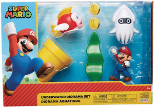 Super Mario 2.5 Inch Action Figure World Of Nintendo - Underwater Diorama Set