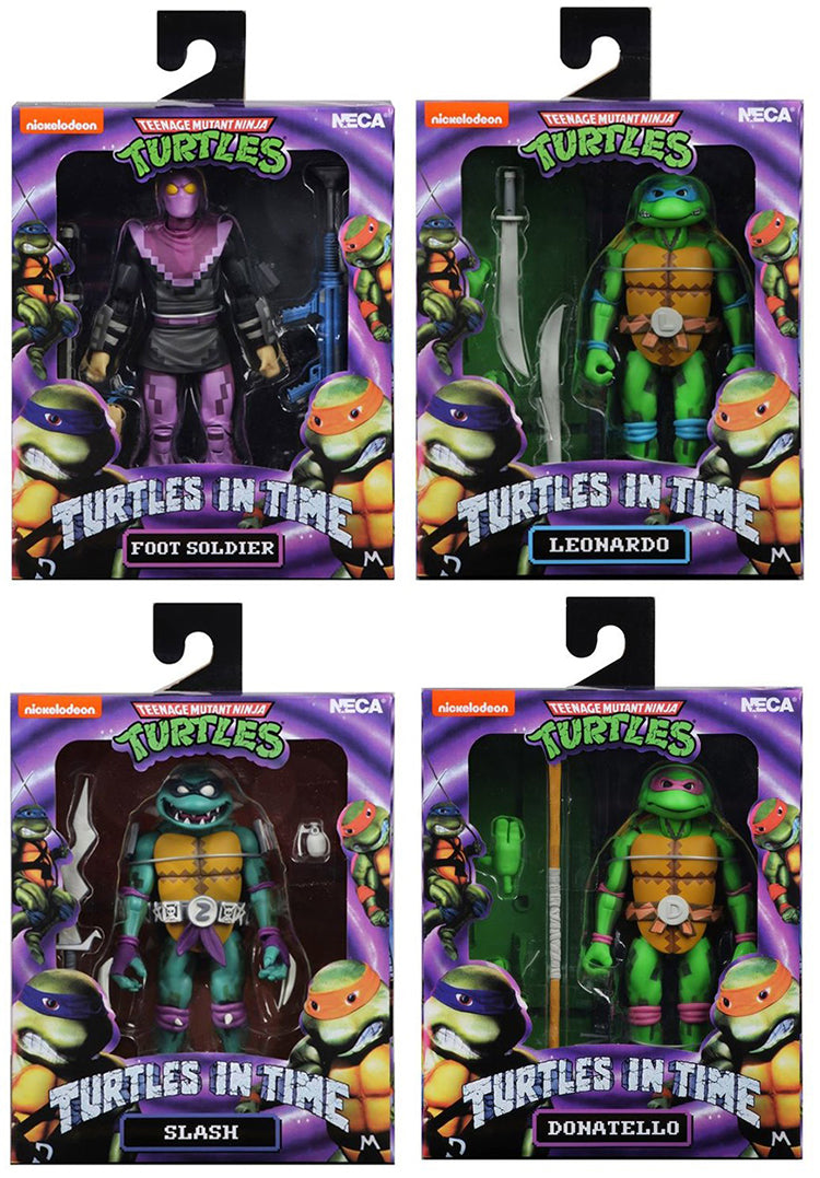 Teenage Mutant Ninja Turtles 7 Inch Figure Turtles In Time - Set of 4 (Donatello - Leonardo - Slash - Foot Soldier)
