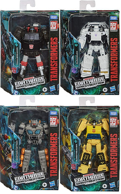 Transformers Earthrise War For Cybertron Figure Deluxe Class - Set (Fasttrack - Trailbreaker - Sunstreaker - Runamuck)