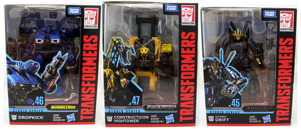 Transformers Studio Series 6 Inch Action Figure Deluxe Class - Set of 3 (Dropkick - Hightower - Drift)