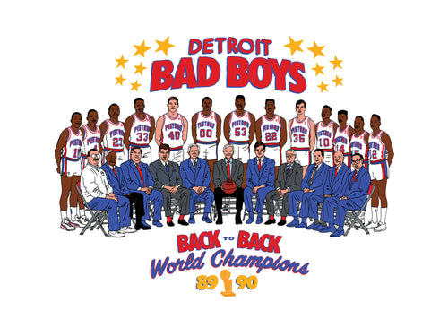 Bad Boys Pistons Team Cartoon Print Poster
