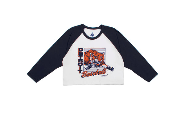 Detroit Baseball 3/4 Sleeve Tee Cropped