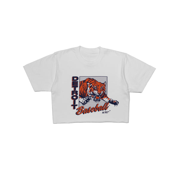 Detroit Baseball T-Shirt Cropped | White
