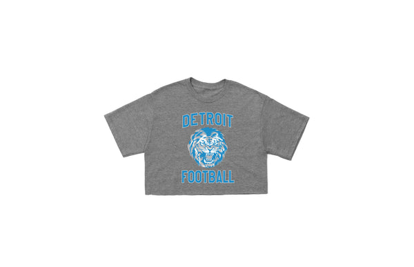 Detroit Football Crop T-shirt | Grey