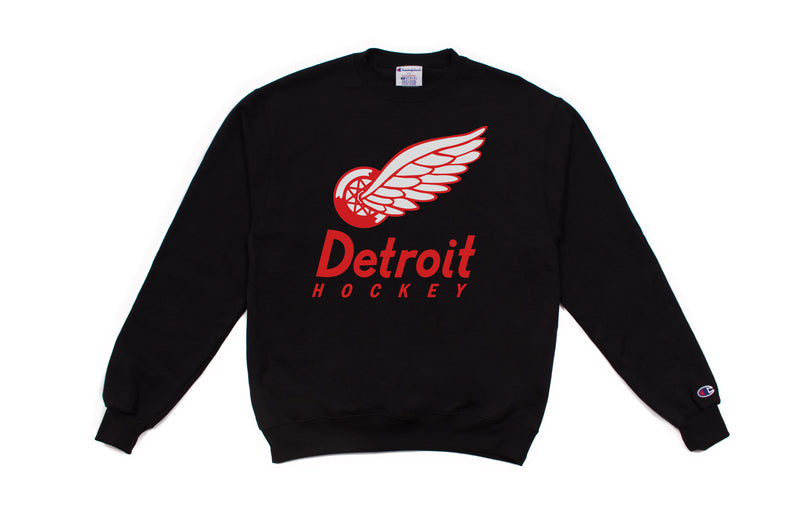 Detroit Hockey Crewneck Sweatshirt | Black