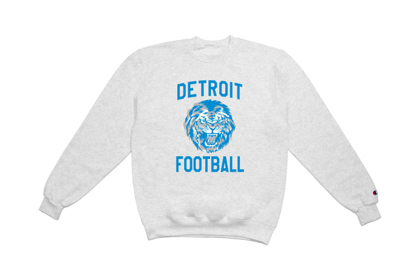 Detroit Football Crewneck Sweatshirt | Grey