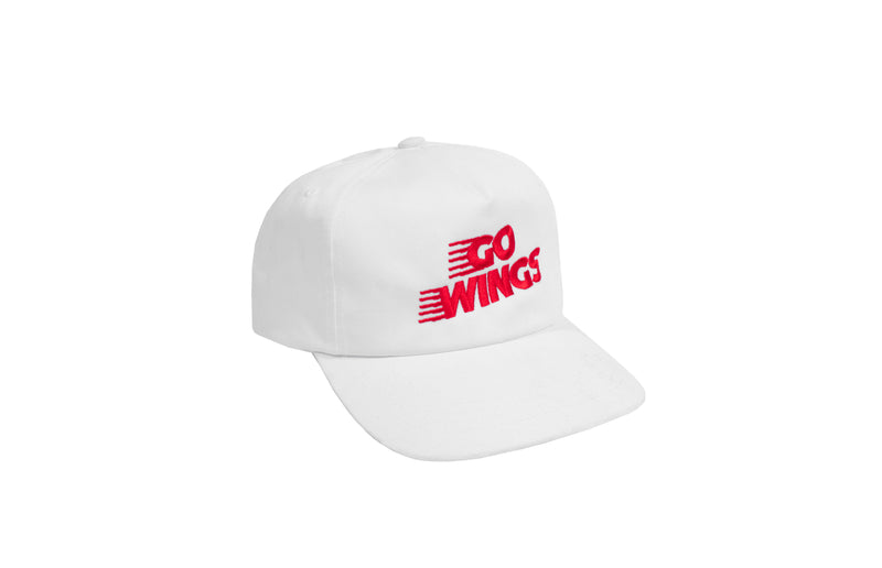 Go Wings 5-Panel Snapback Hat | White