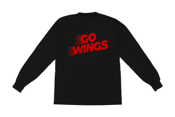 Go Wings Long Sleeve T-shirt | Black