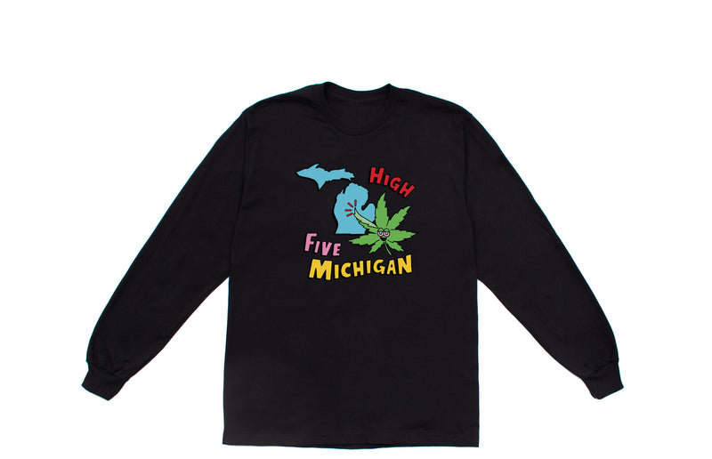 High Five Michigan Long Sleeve T-Shirt | Black