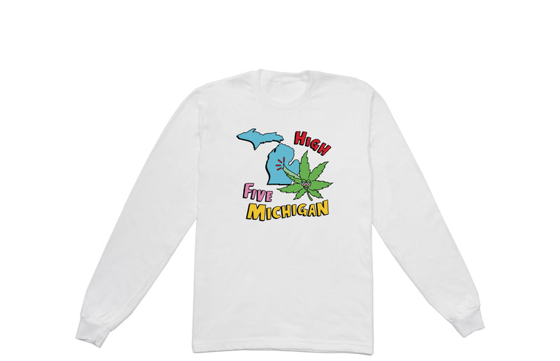 High Five Michigan Long Sleeve T-Shirt | White
