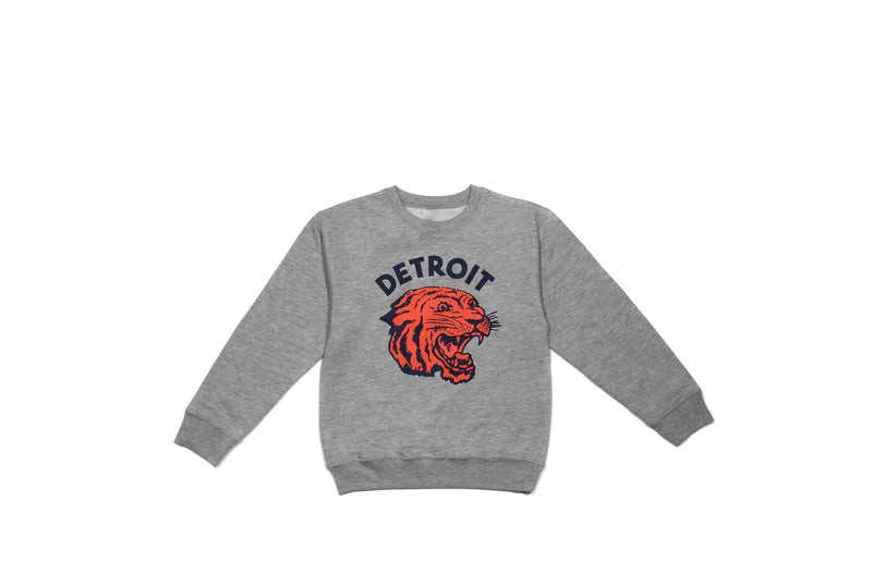 Neo-Tiger Kid's Crewneck | Heather Grey