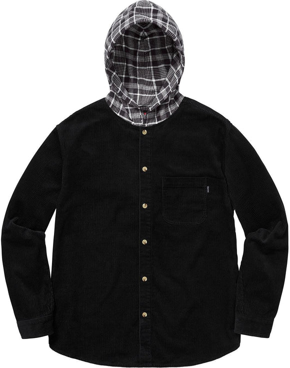 SUPREME HOODED COLOR BLOCKED CORDUROY SHIRT BLACK