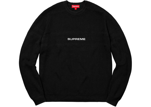 SUPREME CHEST STRIPE RAGLAN SWEATER BLACK
