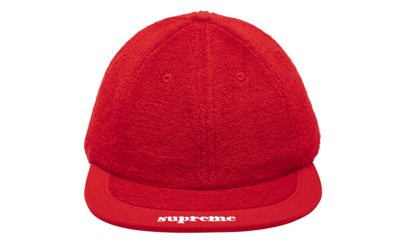Supreme Terry Visor Logo 6-Panel Cap Hat Red SS18 NEW