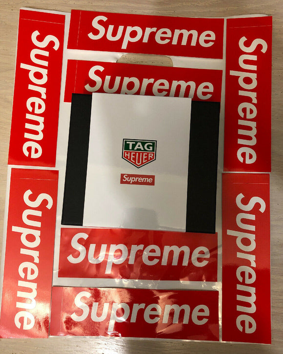 Supreme 100% Authentic X Stopwatch Tag Heuer New Rare White FW18 with Stickers!