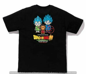 BAPE x DRAGONBALL Z SUPER SON GOKU & VEGETA BLACK TEE SIZE SMALL