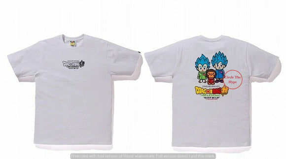 BAPE x DRAGONBALL Z SUPER SON GOKU & VEGETA WHITE TEE SIZE 2XL