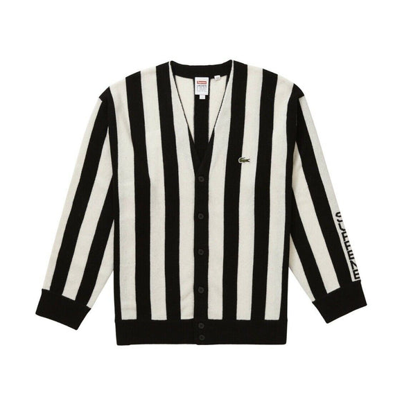 Supreme/LACOSTE Stripe Cardigan Black/White