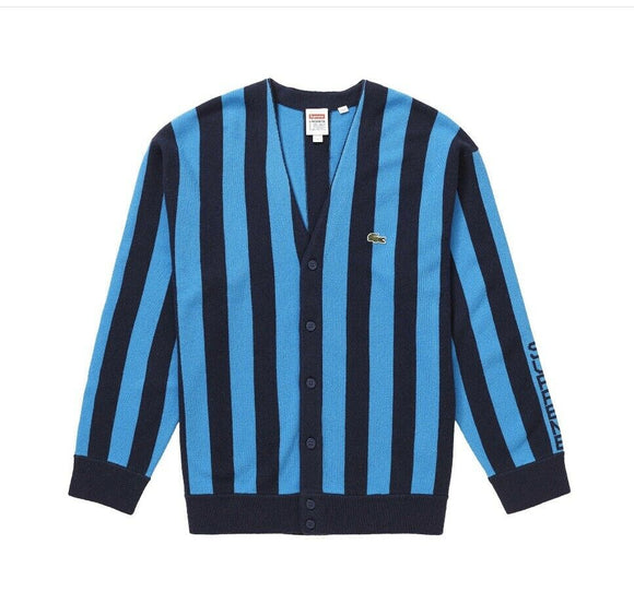 Supreme/LACOSTE Stripe Cardigan Navy Size Medium FW19