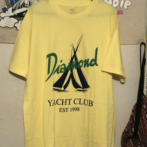 Diamond Supply Co Yacht Club Tee Shirt Yellow Medium + Supreme Box Logo Sticker