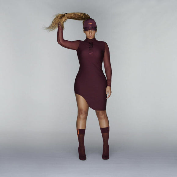 ADIDAS IVY PARK ASYMMETRICAL DRESS MAROON