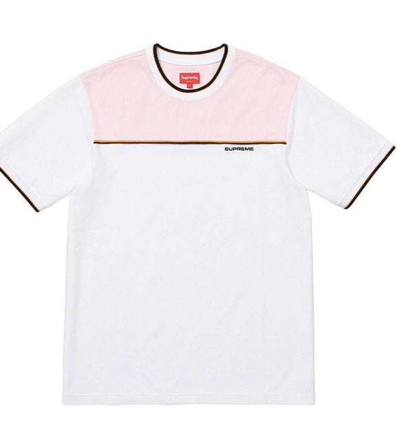 Supreme Contrast Yoke Pique Top Size Large White T-Shirt FW18 - Brand New
