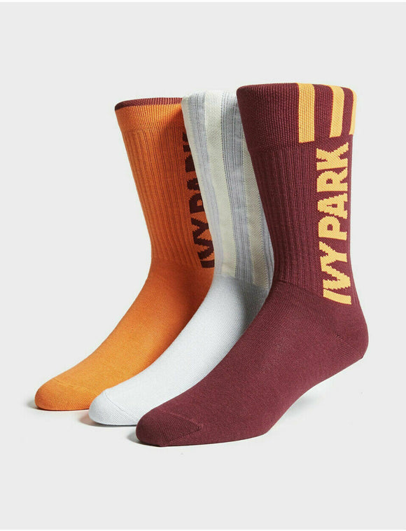 ADIDAS IVY PARK LOGO SOCKS 3 PAIRS DASH GREY / SOLAR ORANGE / MAROON