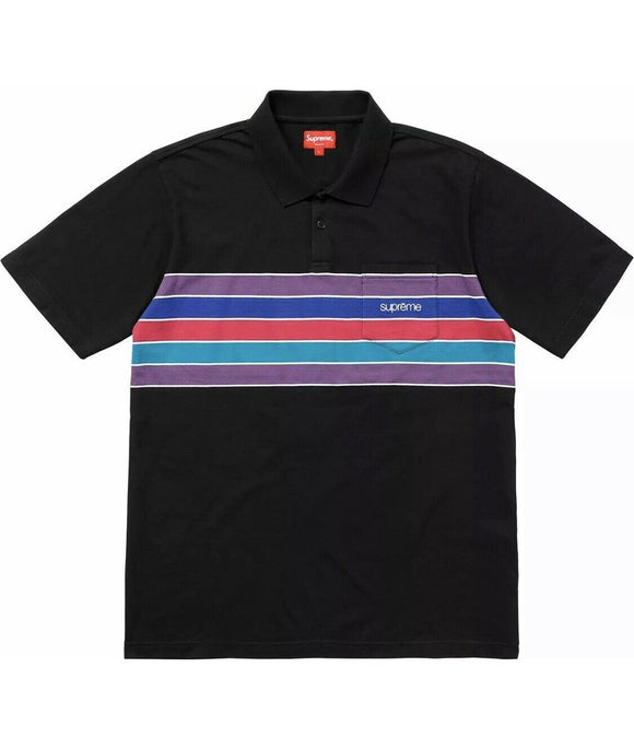 SUPREME CHEST STRIPES POLO BLACK