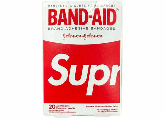 Supreme x Band Aid Adhesive Bandages (Box of 20) Red + Box Logo Sticker