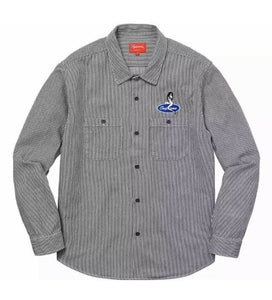 Supreme Pin Up Work Shirt Hickory Stripe Large NEW