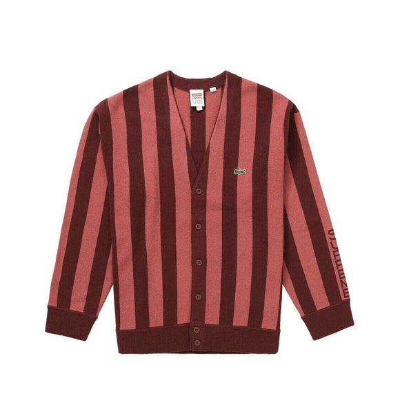 Supreme/LACOSTE Stripe Cardigan Burgundy Size Medium FW19